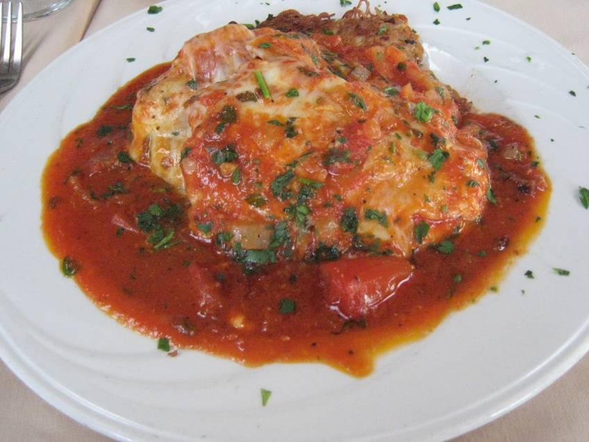 Baked Chicken Parm stuffed with Roasted Red Peppers & Italian Sausage
